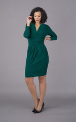 V Neck Short Figure Flattering Dress - Green