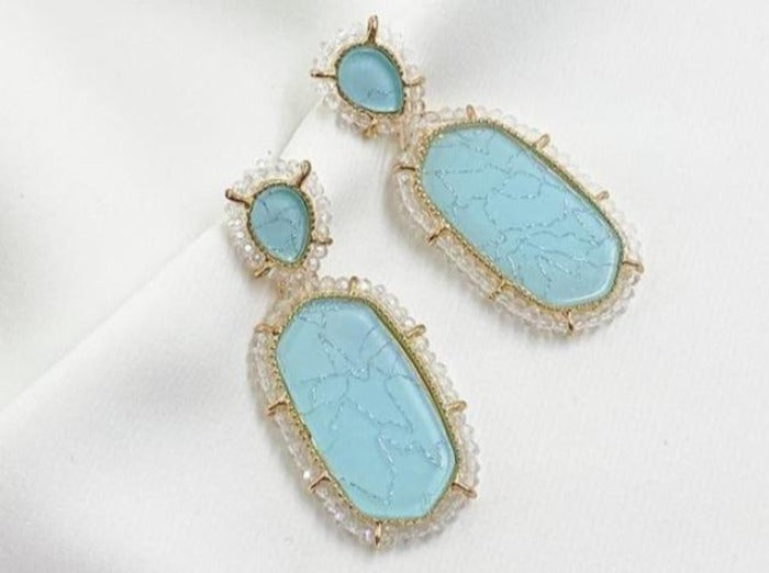 Turquoise Crystal Statement Earrings