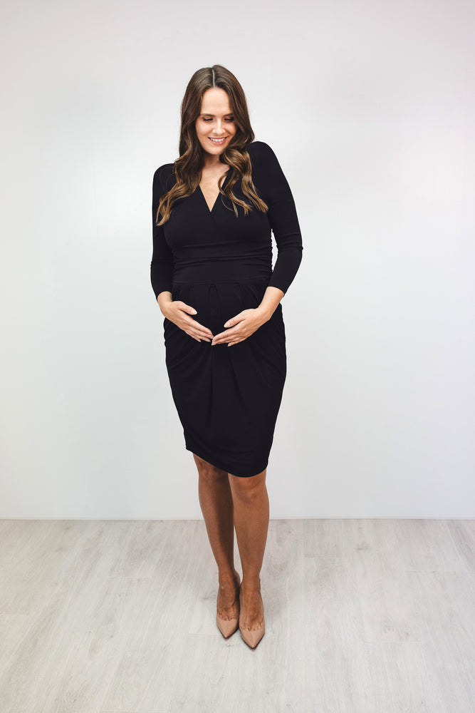 Bump to Baby Very Flattering V Neck Dress - Black