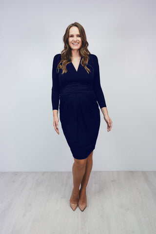 Bump to Baby Very Flattering V Neck Dress - Navy