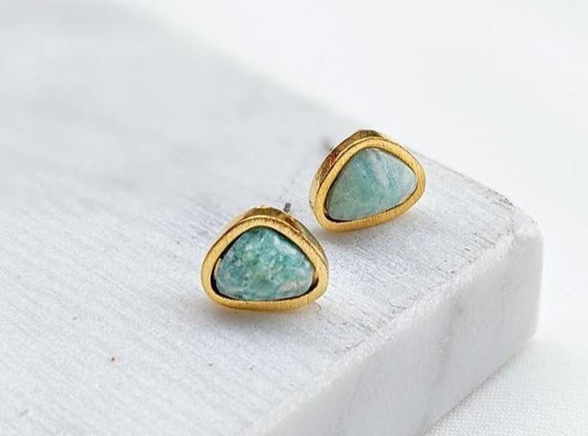 Amazonite Gold Stud Earrings