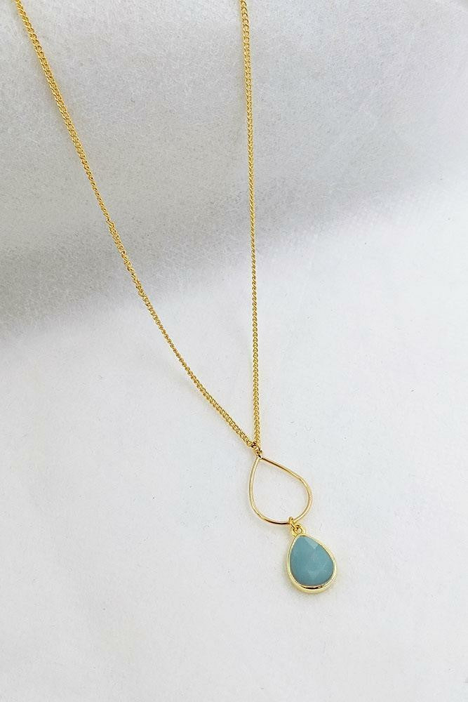 Amazonite Gold Teardrop Necklace