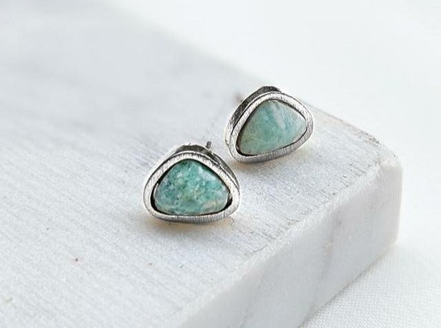 Amazonite White Gold Stud Earrings