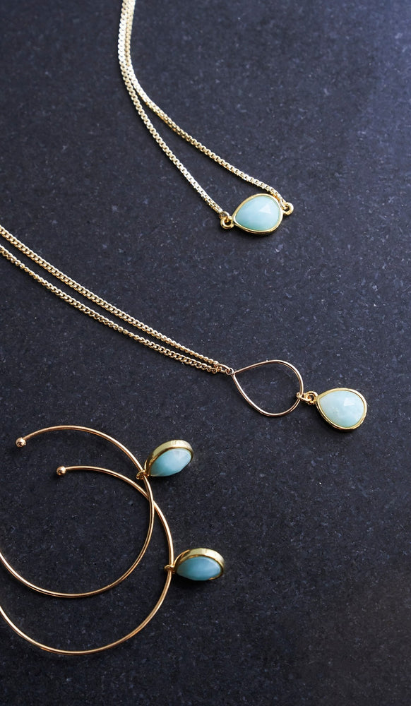 Amazonite Gold Hoop Earrings