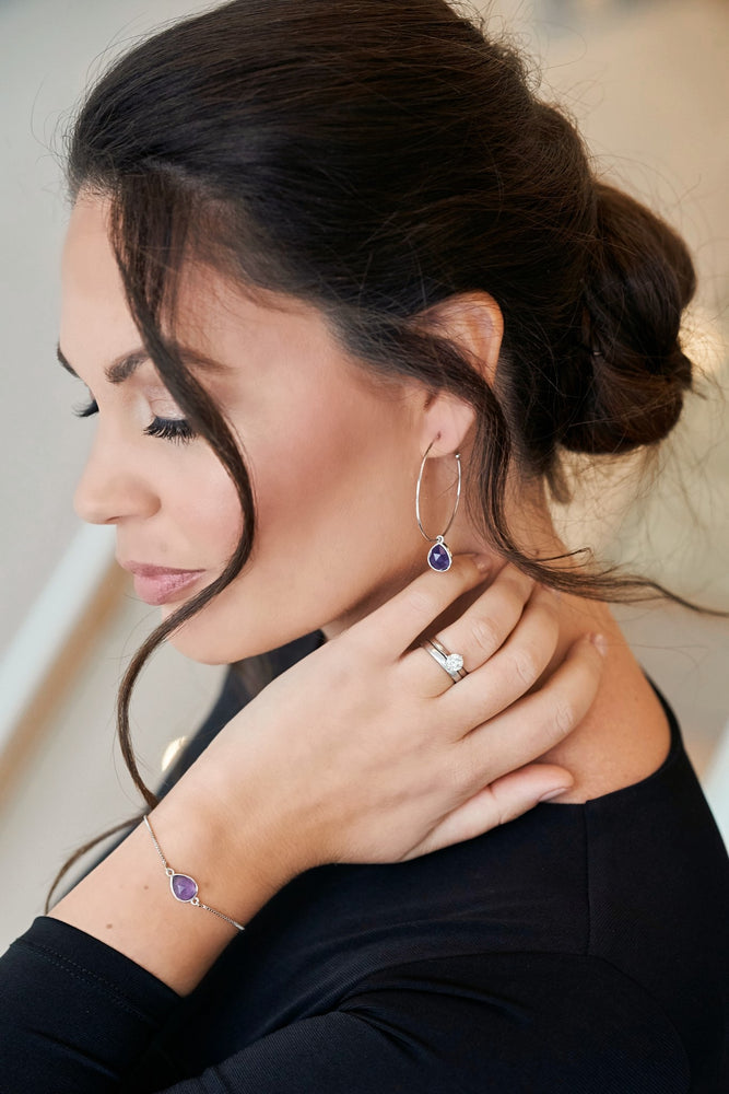 Amethyst White Gold Hoop Earrings