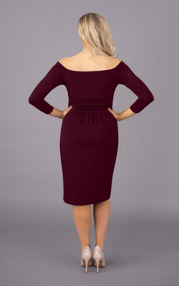 Off The Shoulder Short Figure Flattering Dress - Burgundy