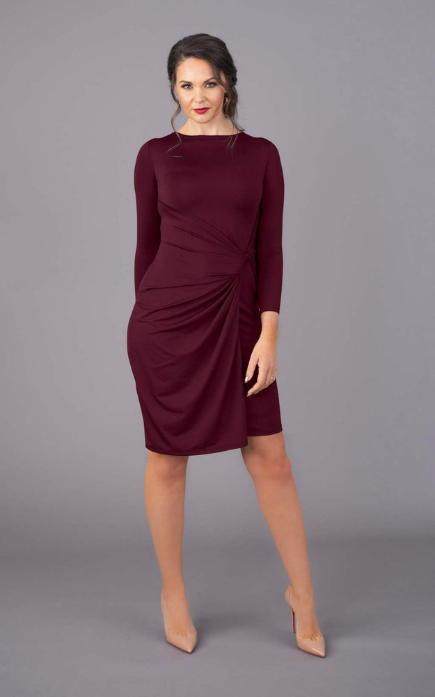 Round Neck Short Figure Flattering Dress - Burgundy
