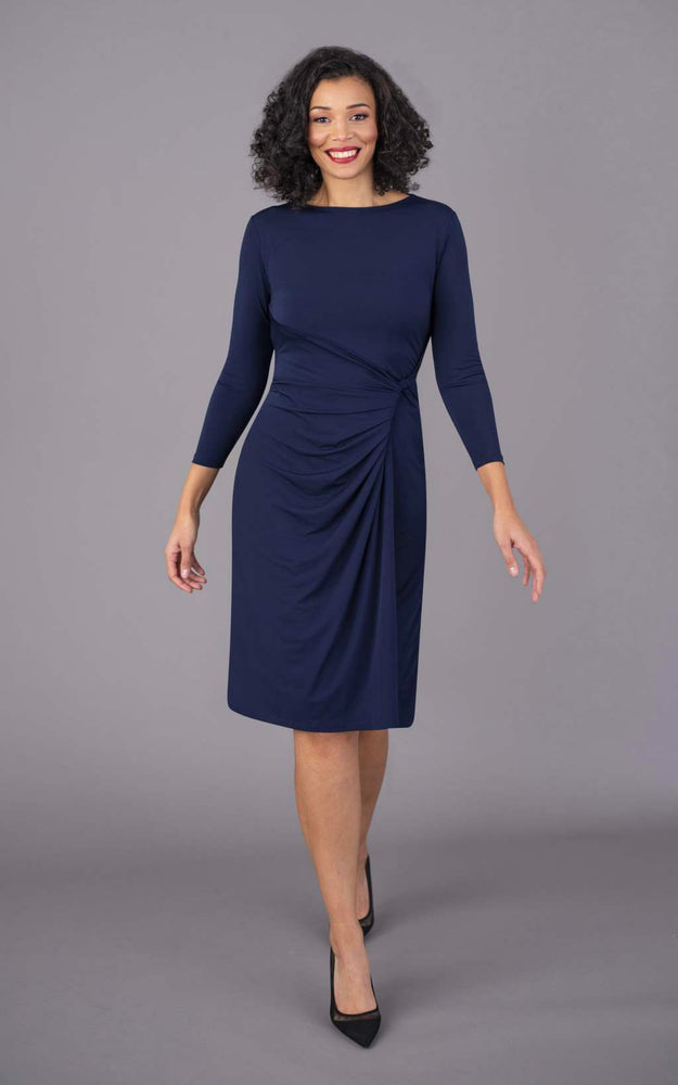 Round Neck Short Figure Flattering Dress - Navy