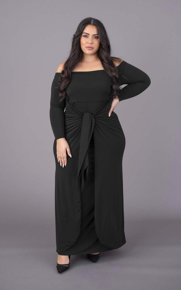 Tummy Trimmer Bardot Maxi Dress - Black