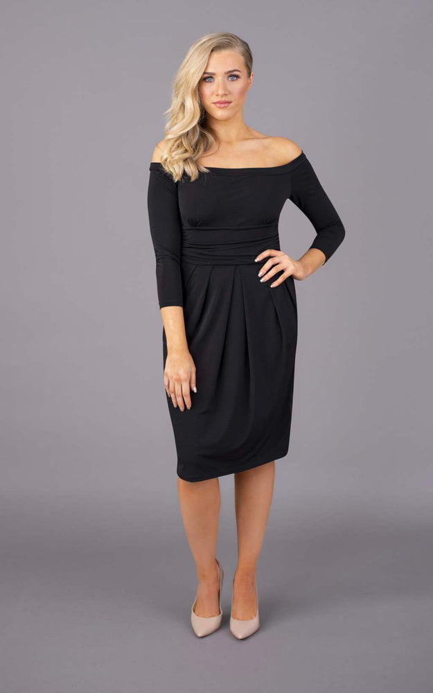Nip & Tuck Off The Shoulder Short Dress - Black