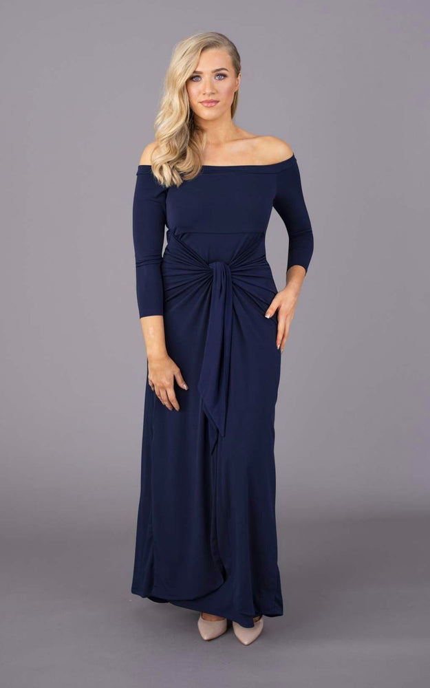 Bardot Maxi Figure Flattering Dress - Navy