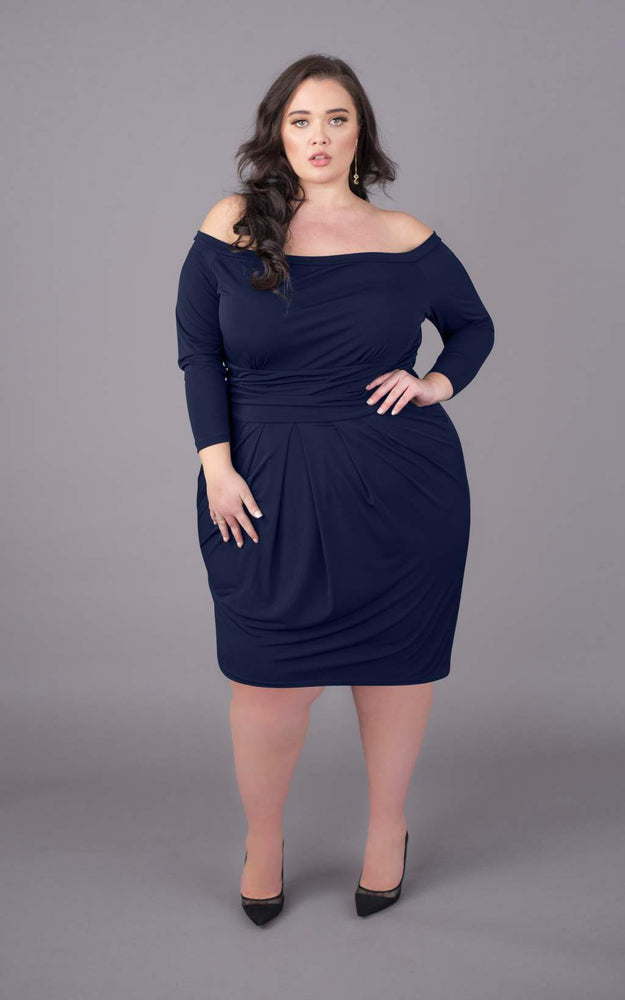 Off The Shoulder Short Figure Flattering Dress - Navy