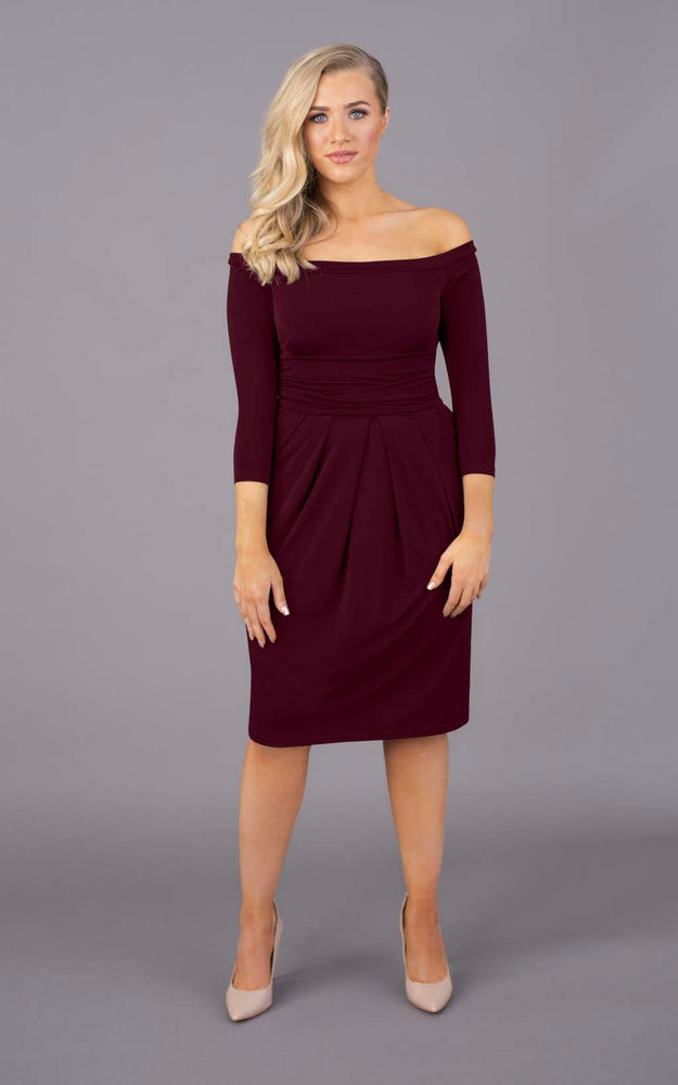 Nip & Tuck Off The Shoulder Short Dress - Burgundy