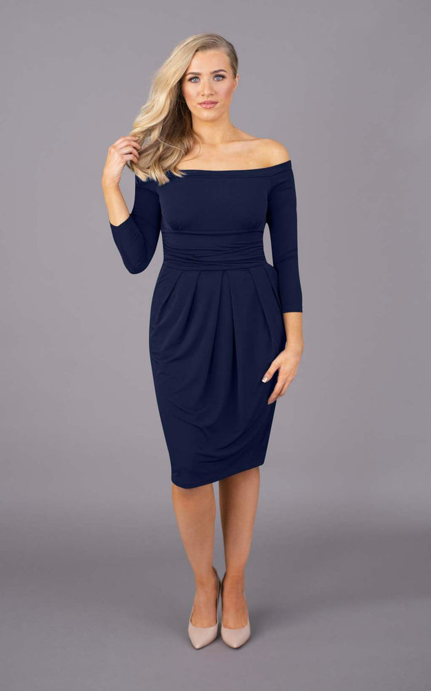 Nip & Tuck Off The Shoulder Short Dress - Navy