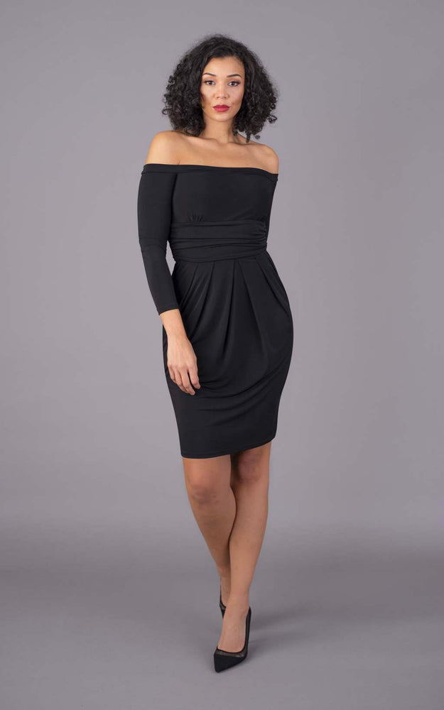 Off The Shoulder Short Figure Flattering Dress - Black