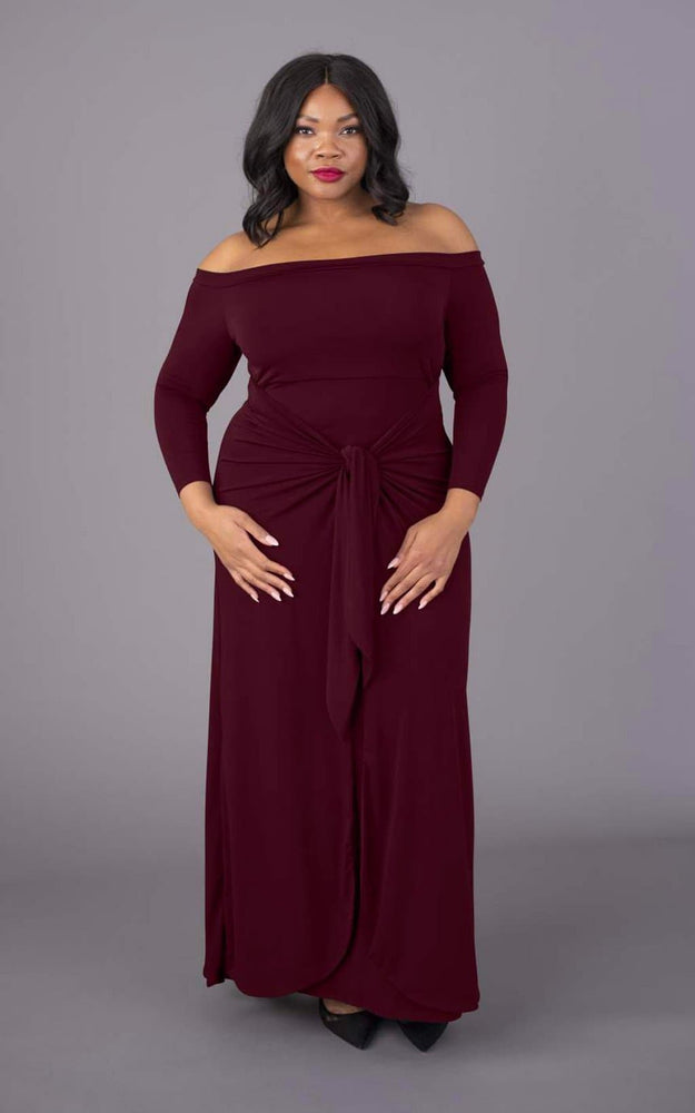 Bardot Maxi Figure Flattering Dress - Burgundy