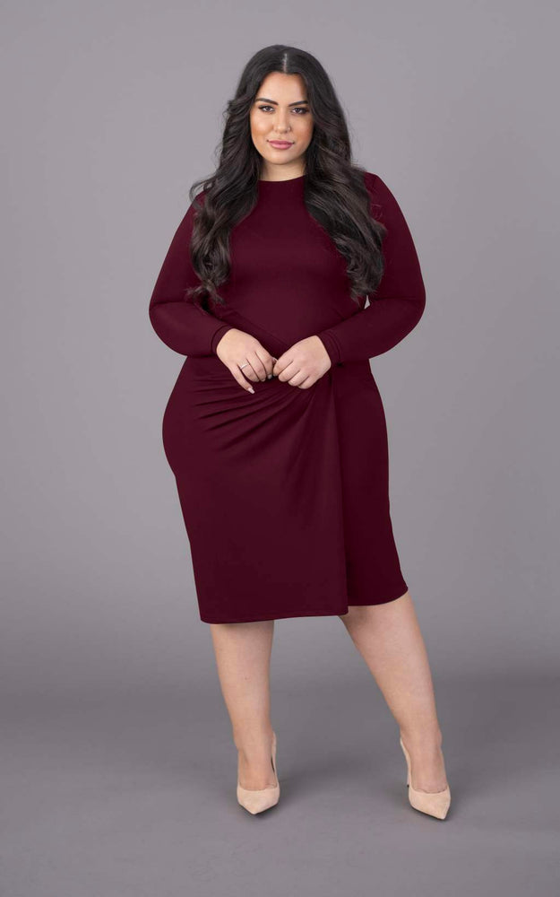 Drop a Dress Size Round Neck Short Dress - Burgundy