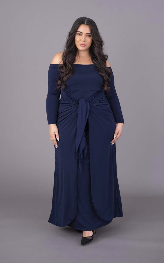 Tummy Trimmer Bardot Maxi Dress - Navy
