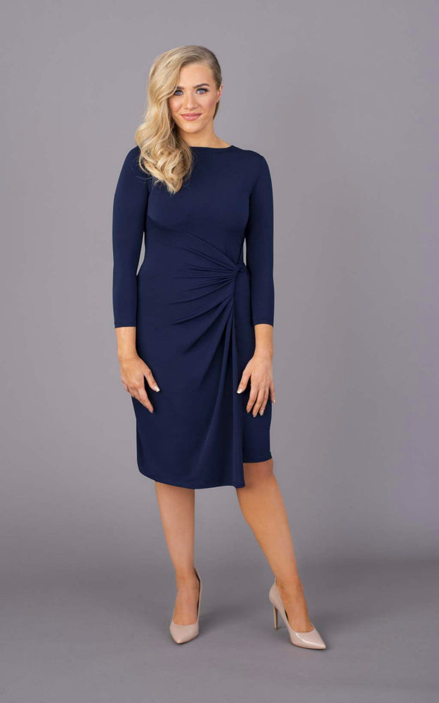 Drop a Dress Size Round Neck Short Dress - Navy