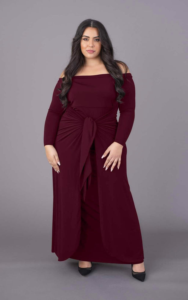 Tummy Trimmer Bardot Maxi Dress - Burgundy