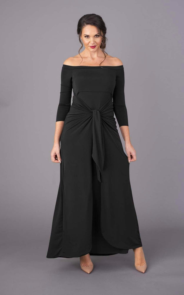 Bardot Maxi Figure Flattering Dress - Black