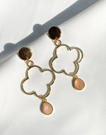 Peach Moonstone Drop Earrings