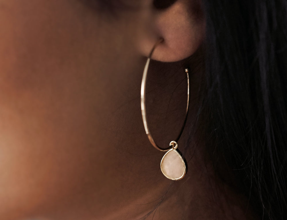 Rose Quartz Gold Hoop Earrings