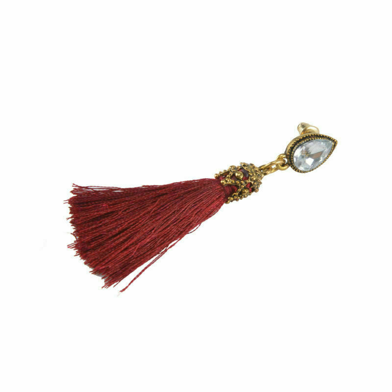 Red Tassel Diamond and Gold Earrings