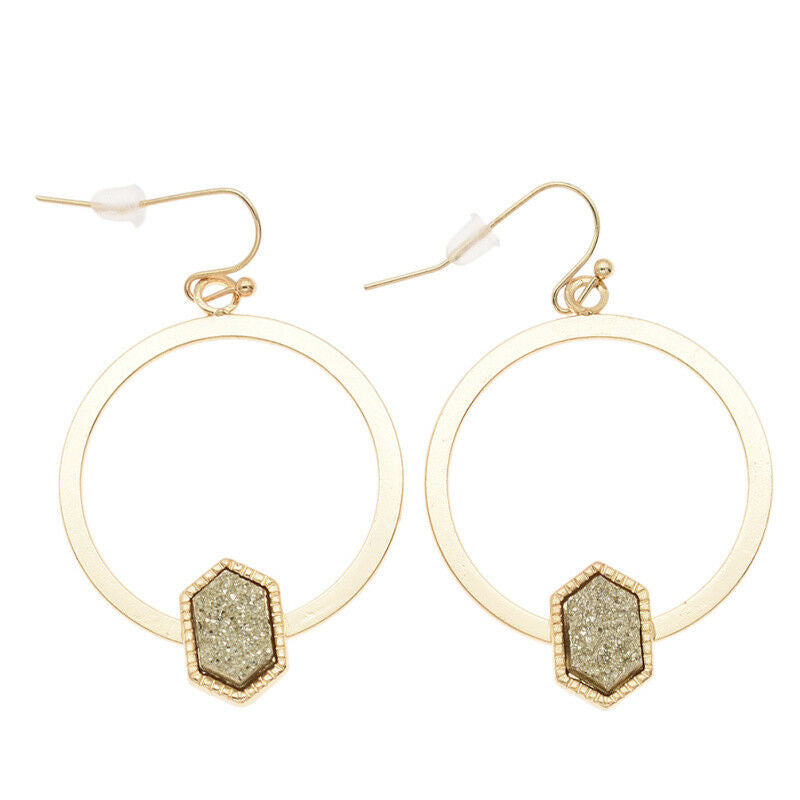 Gold Circular Drop Earrings With Diamond Detail