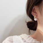 Pearl and Diamanté Leaf Studs
