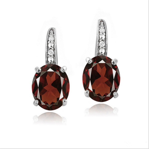 Oval Cut Ruby Lever Back Stud Earrings