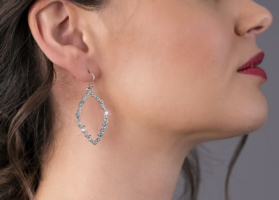 Silver Sparkle Drop Earrings