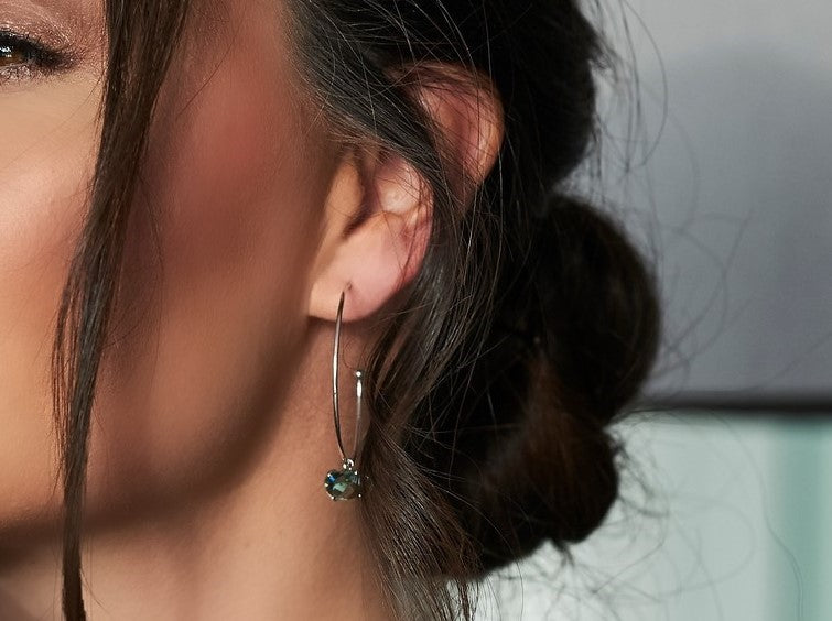 Sea Green White Gold Hoop Earrings