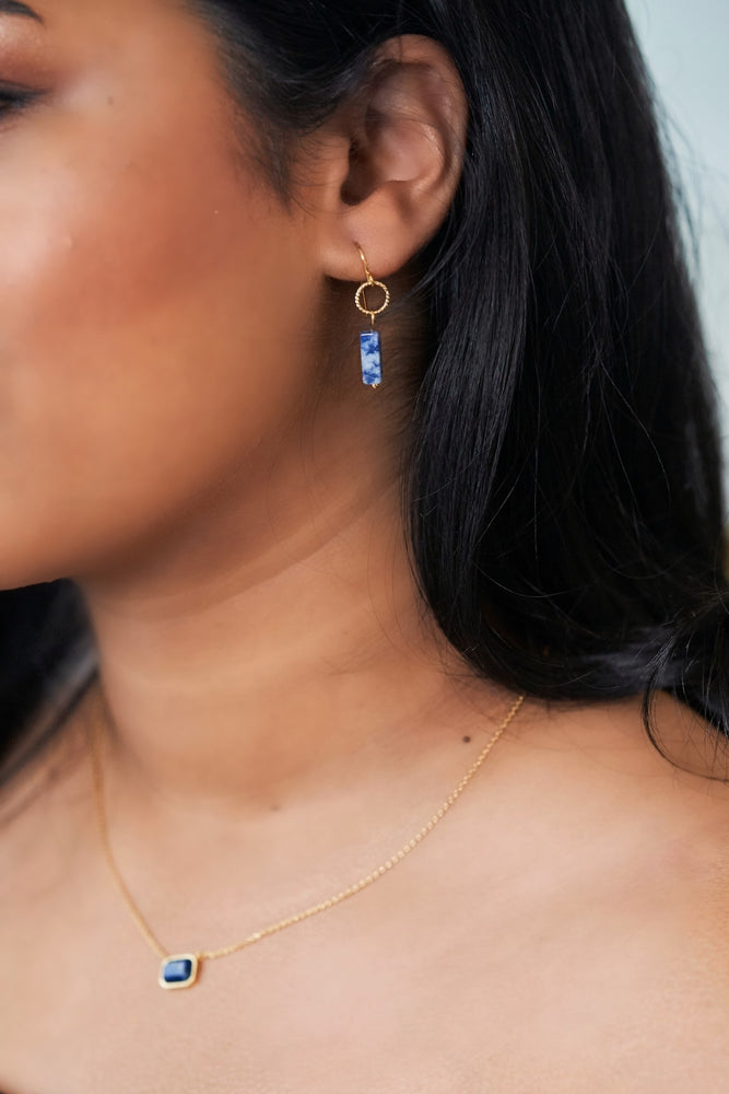 Sodalite Gold Drop Earrings
