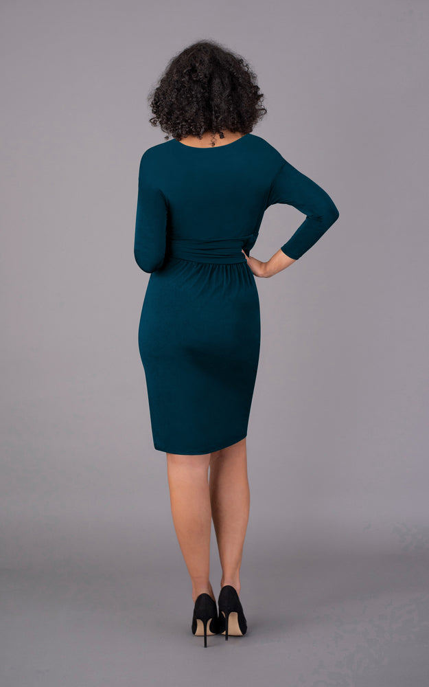 V Neck Short Figure Flattering Dress - Teal