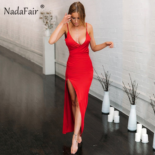 Nadafair Deep V Neck Party Maxi Dress Women Backless High Split Spaghetti Strap Long Bodycon Club Sexy Dress Summer Vestidos Red
