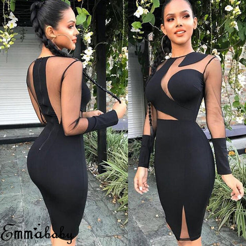 2018 Brand New Fashion Sexy Women Lady Long Sleeve Bandage Bodycon Casual Solid Party Cocktail Club Short Mini Dress