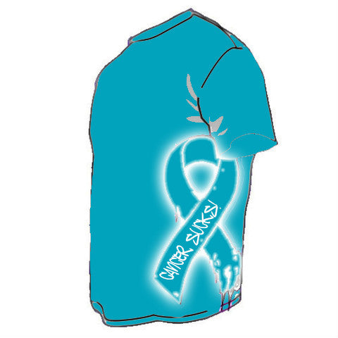 CANCER SUCKS RIBBON Teal & White (Ovarian & Cervical Cancer)