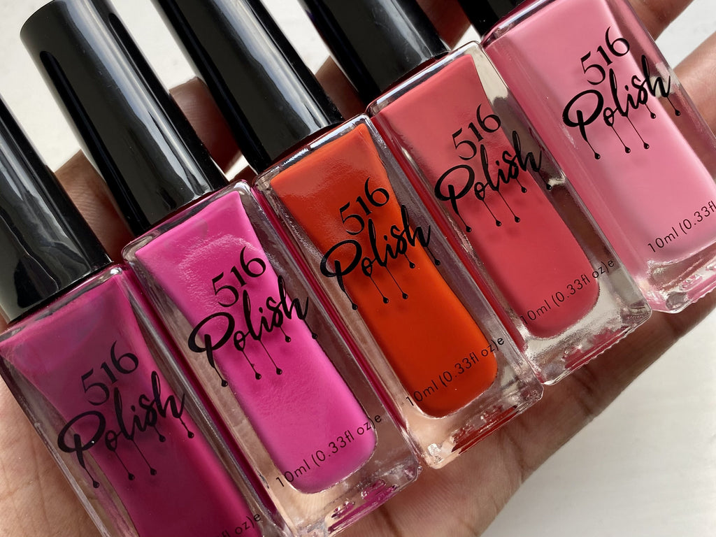 bestselling red and pink nail polishes from 516 Polish