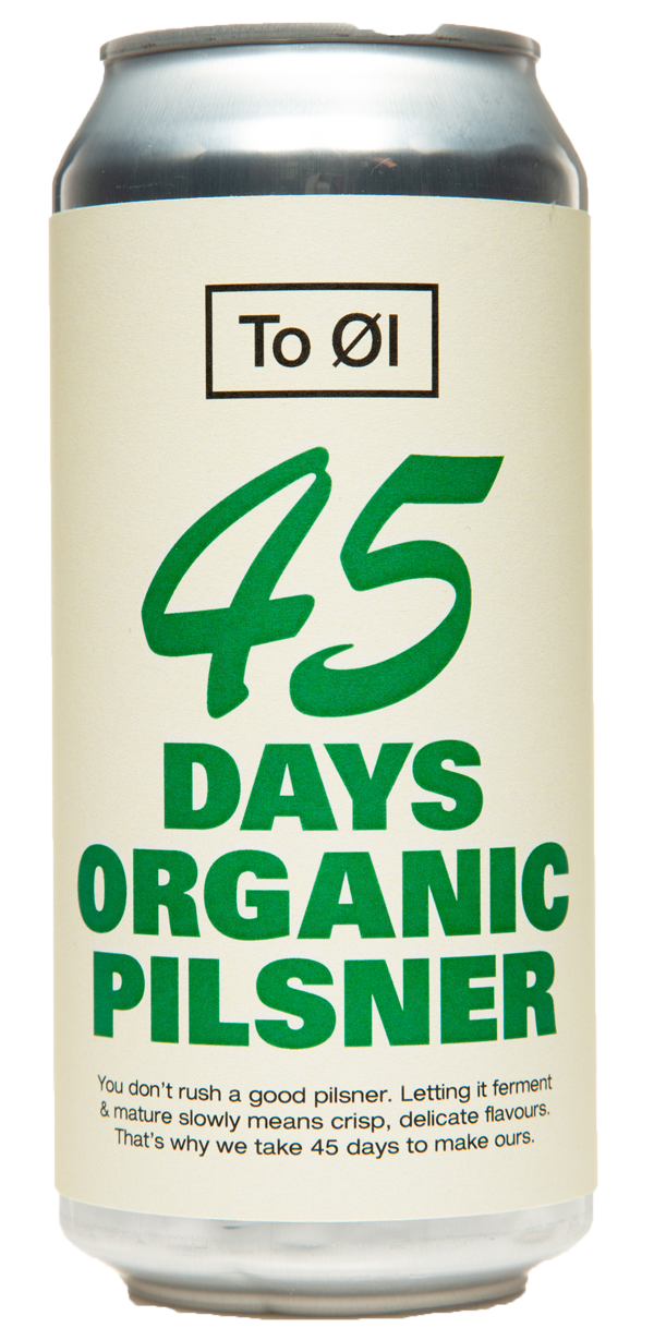 TO ØL 45 Days Organic Pilsner 4.7% ABV 440ml Can