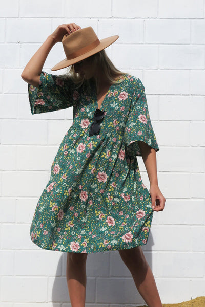 taylor tunic dress green blossom