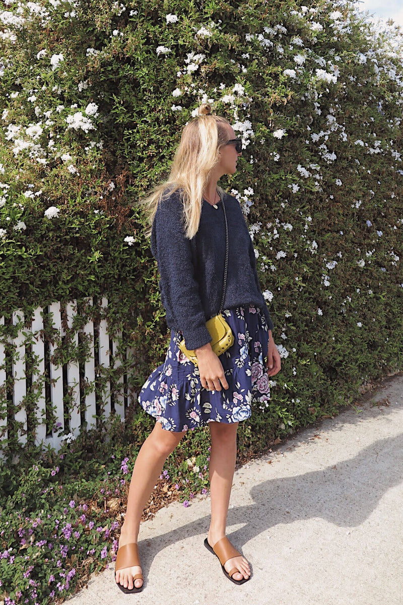 ruffle mini skirt in navy