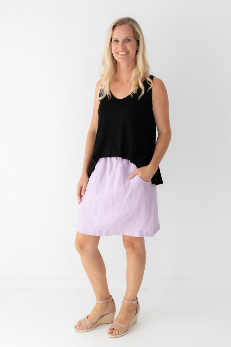 purple skirt black singlet
