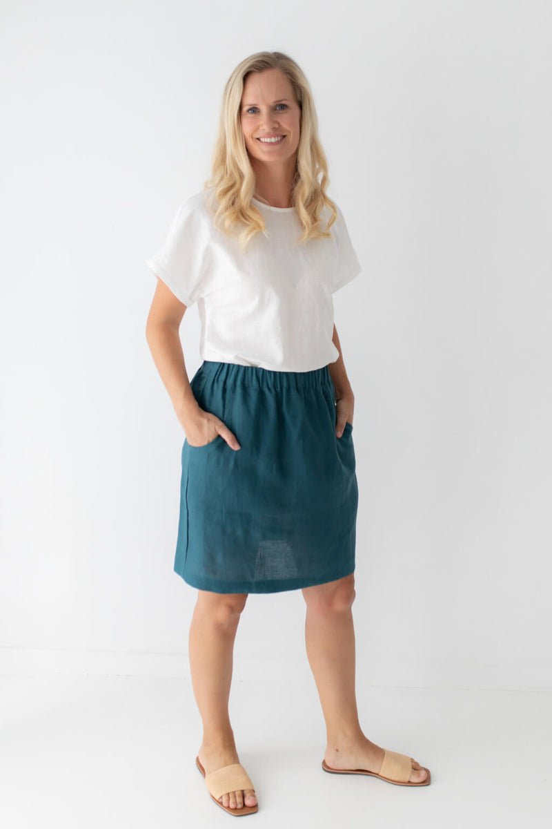 linen skirt white top