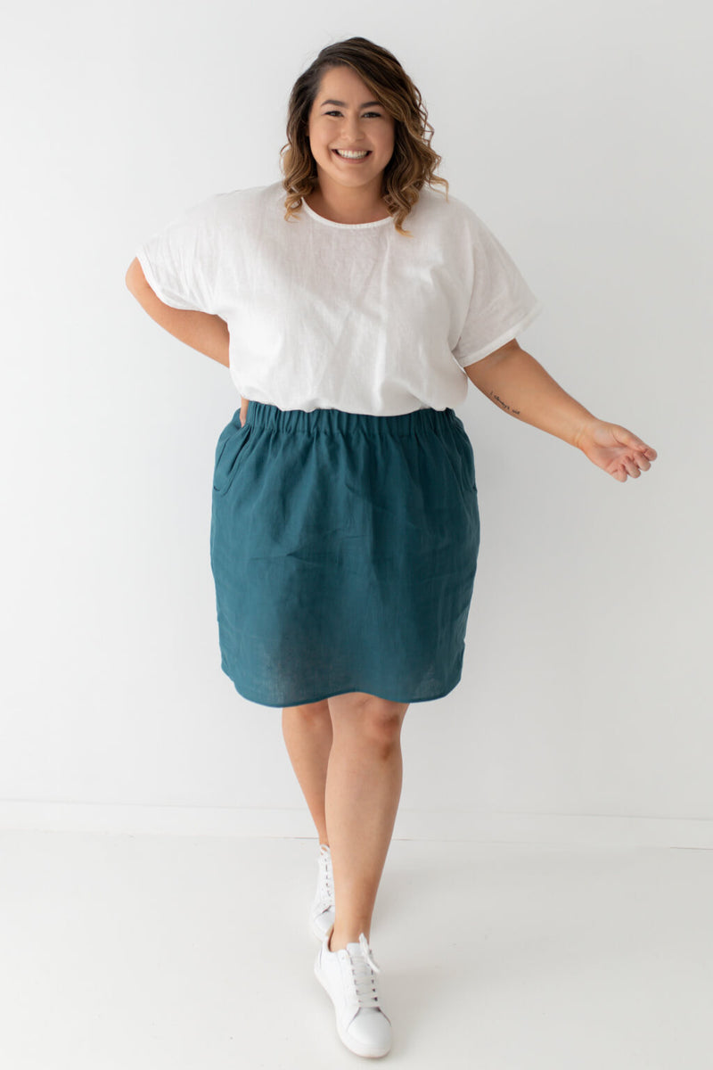 plus size linen skirt