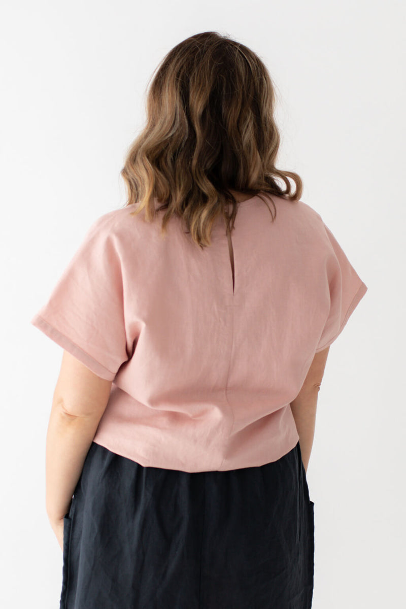 blush linen cotton blend top