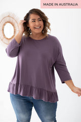 ruffle tee plum purple colour