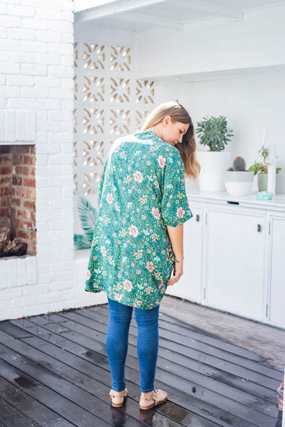 blossom cocoon shrug green floral print