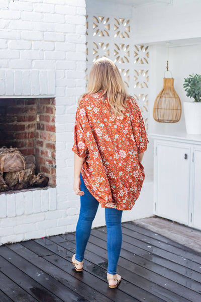 red floral cocoon kimono