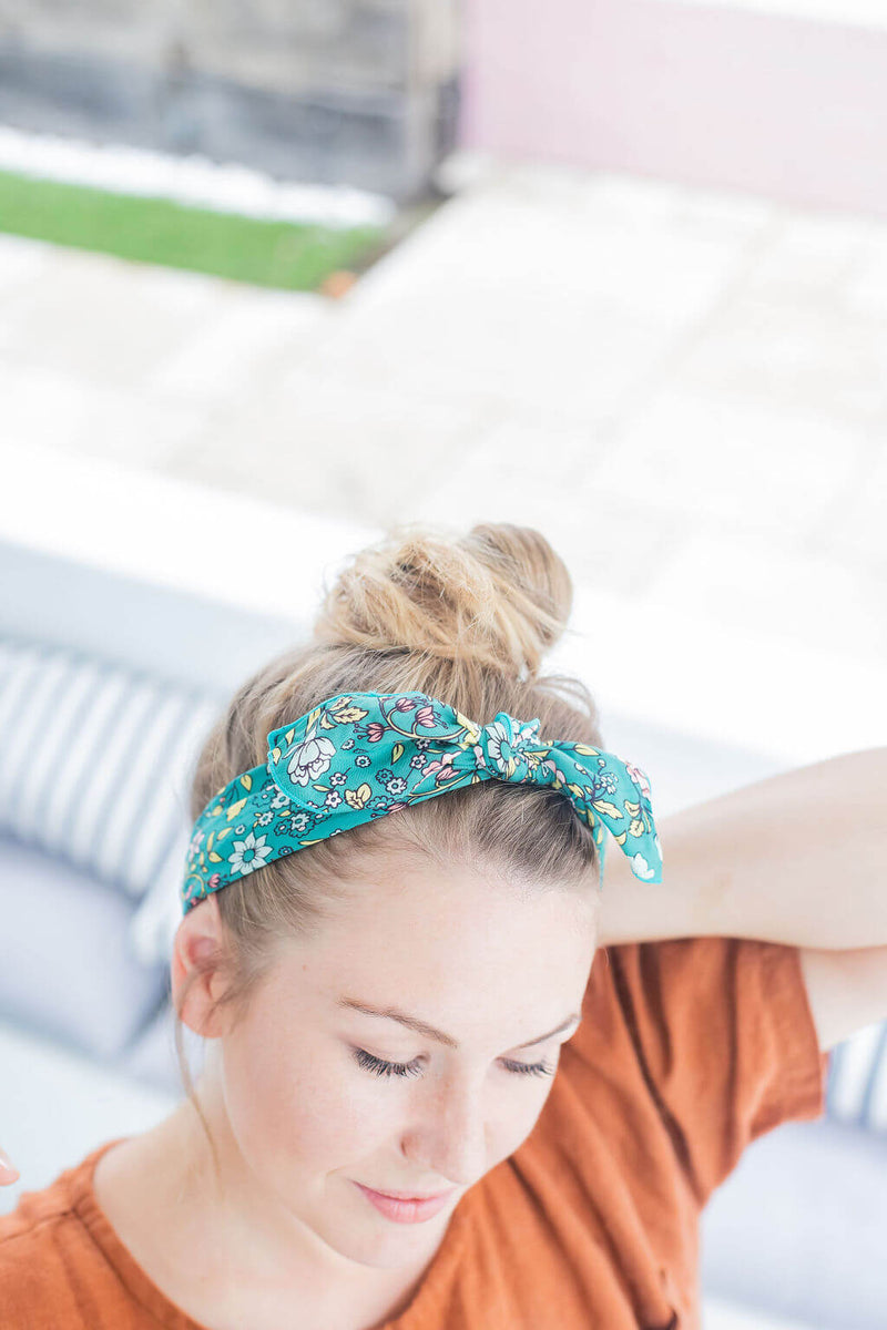 head scarf green floral